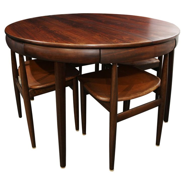 Rosewood Dining Table With Nested Chairs By Hans Olsen