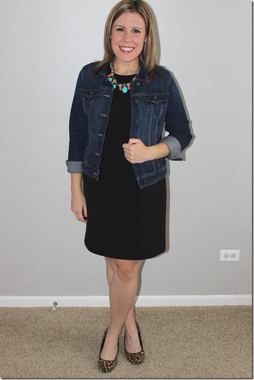 statement necklace, jean jacket, black dress, leopard heels 3