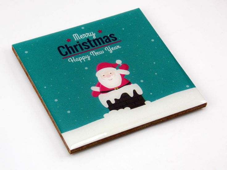 Santa Claus Chimney Merry Christmas Drink Coaster Unique Gift MDF Wood by Osarix