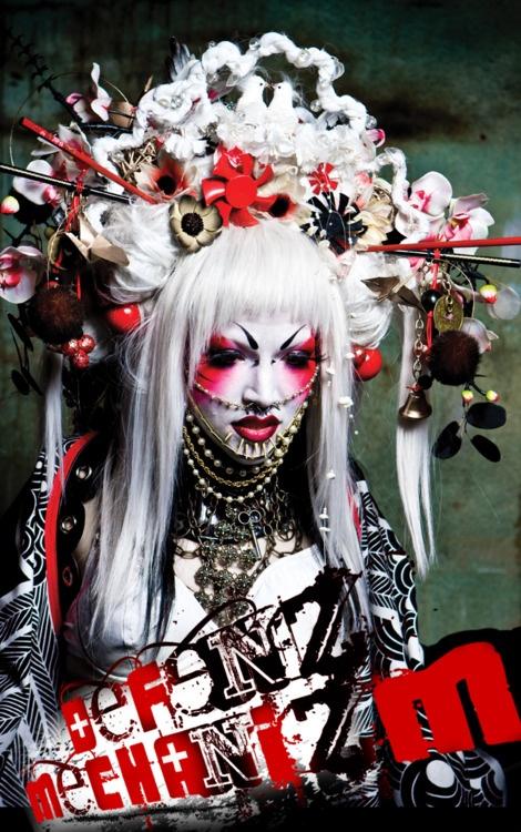 More post-apocalypse geisha inspiration! defenzmechanizmdesigns: Sakura show white oni wing kimono & headdress