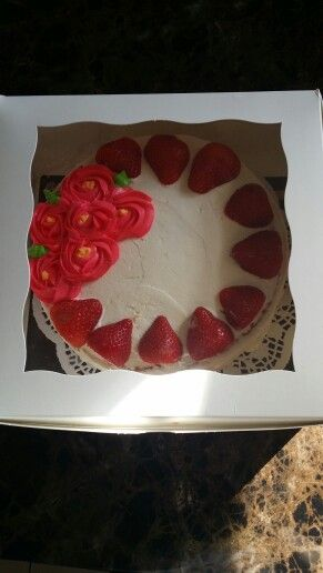My strawberry pecan w whipcream cake..