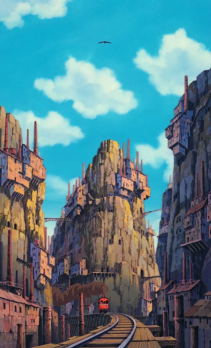 The city where Pazu lives. -- Studio Ghibli movies, Japanese films, Laputa: Castle in the Sky, moments, scenes, screenshots, background, scenery