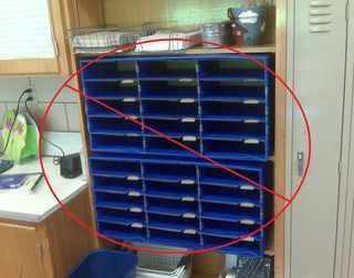 """Do this, not that guide to keeping an organized classroom... She has an idea that would save me from those huge """"student mailboxes."""""""