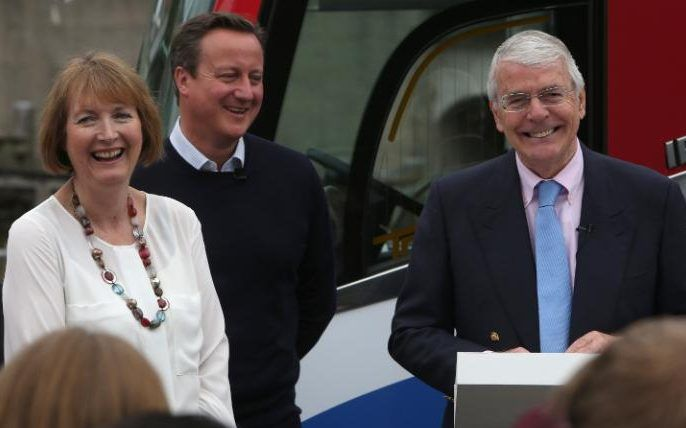Harriet Harman, David Cameron and Sir John Major campaigning for Remain during the EU referendum campaign