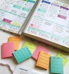 des cartes journaling de couleurs diverses à insérer dans son agenda customisé, idée DIY pour votre agenda scolaire