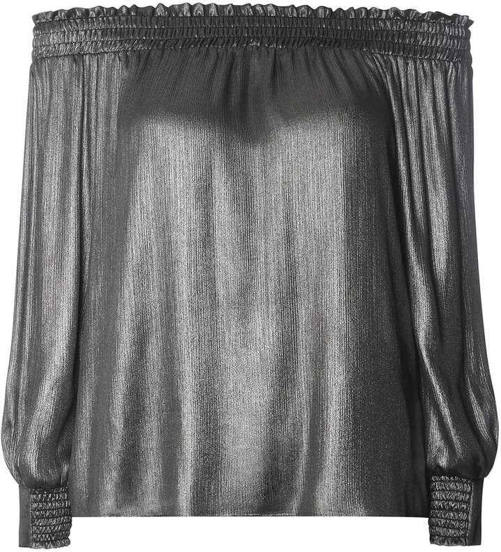 Gunmetal Silver Bardot Long Sleeved Top