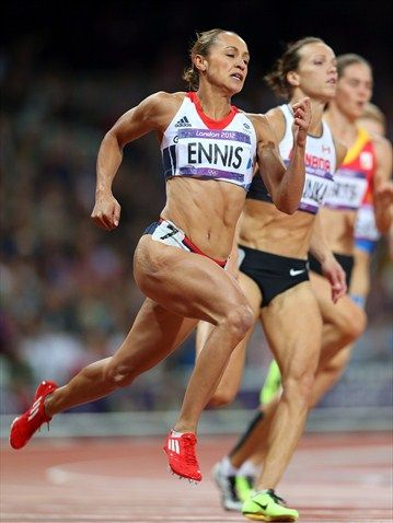 Jessica Ennis of Great Britain competes in the women's Heptathlon 200m on Day 7 of the London 2012 Olympic Games.