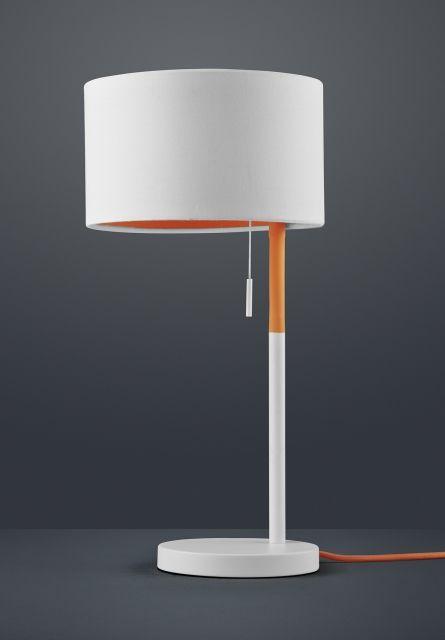 LANDOR Trio - stolná lampa - bielo-oranžový kov+textil