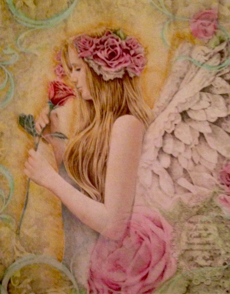 Engel met derwent coloursoft en pastel