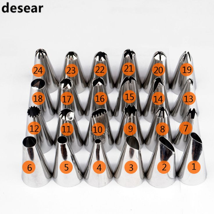 Nuevo Calificada de decoración de Pasteles 24 Unids/set Grande Icing Piping Pasteles de Los Inyectores Tips Set Accesorios de Cocina de acero Inoxidable