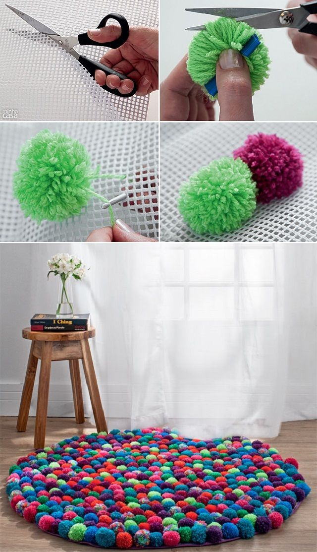 les 25 meilleures id es de la cat gorie tapis de pompon sur pinterest bricolage bricolage et. Black Bedroom Furniture Sets. Home Design Ideas