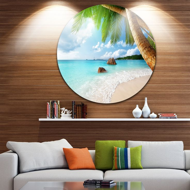 Designart 'Praslin Island Seychelles Beach' Seashore Photo Disc Metal Wall Art