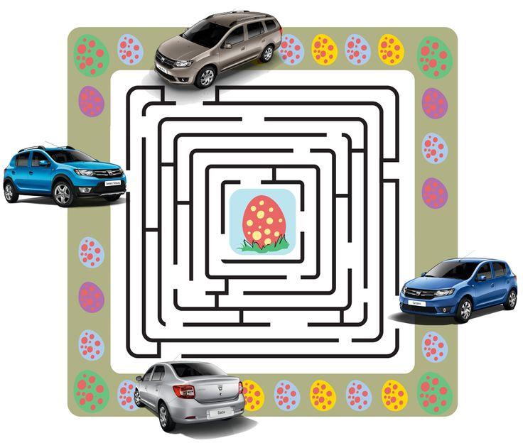 Ne pregătim din timp pentru masa plină de bunătăți din acest weekend. Ne spune cineva ce model Dacia se află pe drumul corect către oul din centrul labirintului?