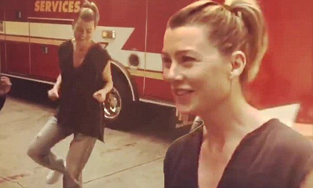 Grey's Anatomy's Ellen Pompeo shares behind the scenes video dancing to hip-hop | Daily Mail Online