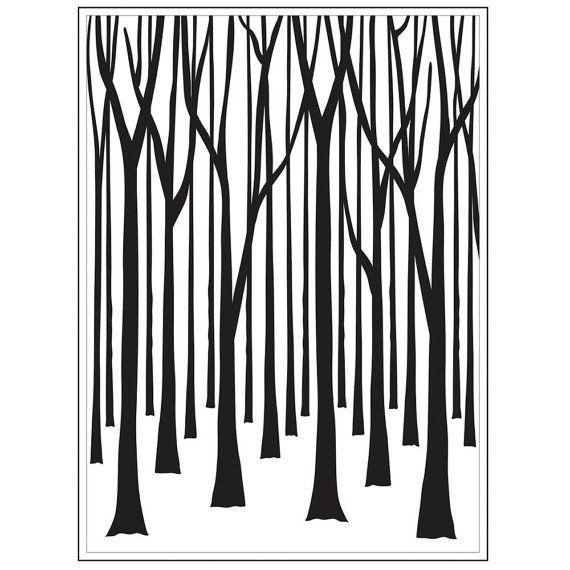 DUNNE bomen - BIRCH Tree - reliëf A2-op voorraad nu veel - Darice reliëf map - plezier!