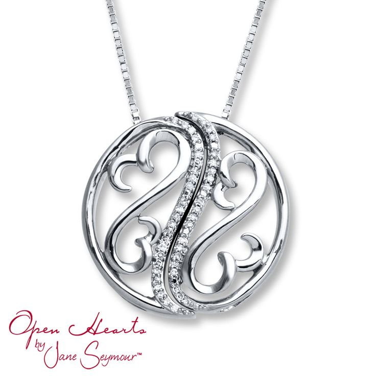 From Open Hearts by Jane Seymour®, this wonderful necklace features two Open Hearts symbols tucked into curves inside a circle, reminiscent of a yin yang symbol. Shimmering diamonds, totaling 1/15 carat in weight, complete the look. The pendant slides along an 18-inch box chain secured with a lobster clasp. Diamond Total Carat Weight may range from .065 - .08 carats.