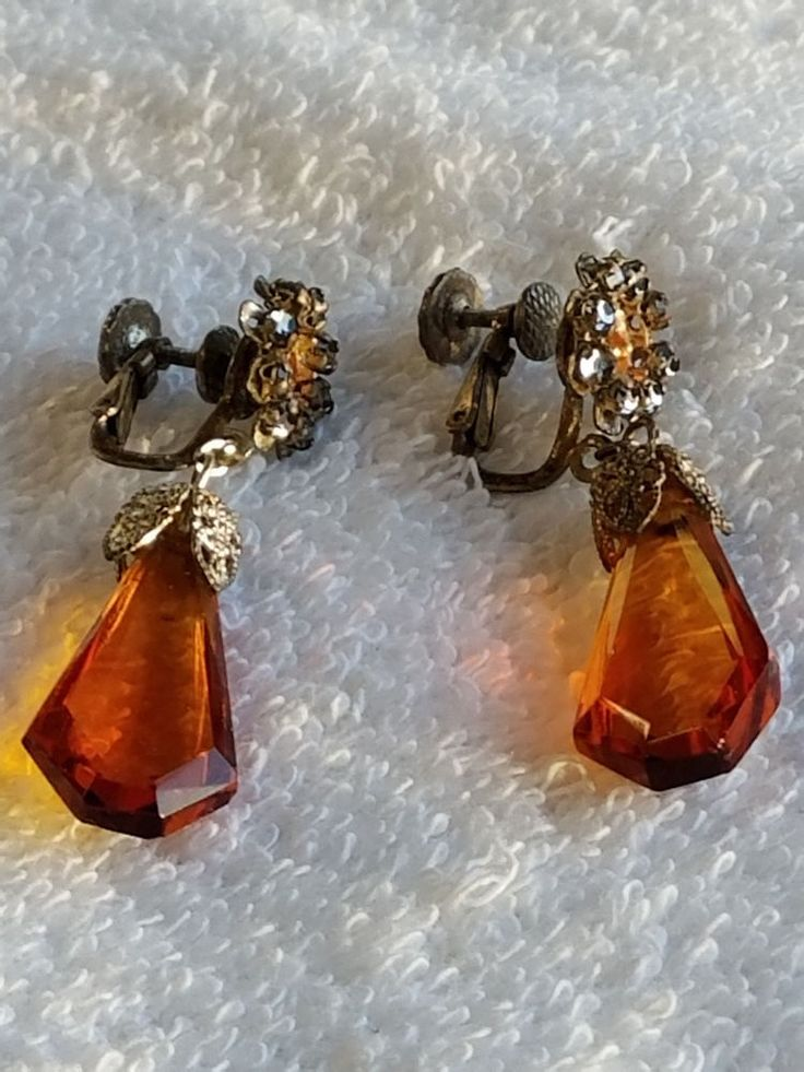 vintage signed Miriam Haskell topaz faceted glass and RS clip earrings EUC #MiriamHaskell