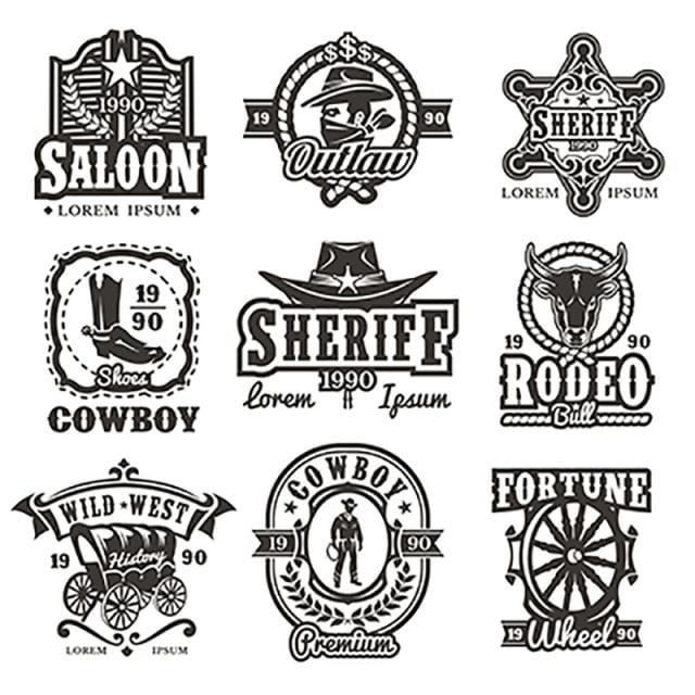 Set Of Vector Wild West Logos Free Logo Design Template Western Cowboy Rodeo Png And Vector With Transparent Background For Free Download In 2020 Western Logo Cowboy Design Logo Design Free Templates