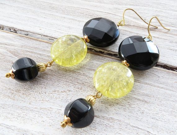 Yellow quartz earrings black onyx earrings dangle by Sofiasbijoux
