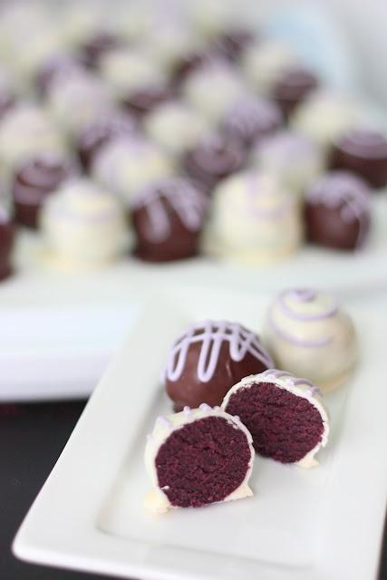 Purple Velvet Cake Balls -- okay the 8-yo boy in me snickered at first