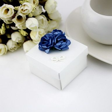 Square Favor Boxes With Flowers - Set Of 12 (More Colors) – USD $ 10.99
