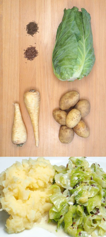 Spitzkohl mit Pastinaken-Kartoffelstampf