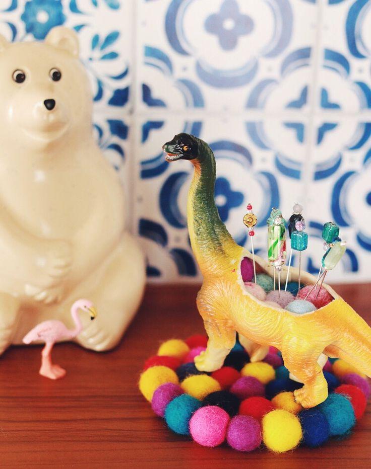 Beaded Pins & Plastic Dinosaur Pincushion - oh gosh these are sooo fun!