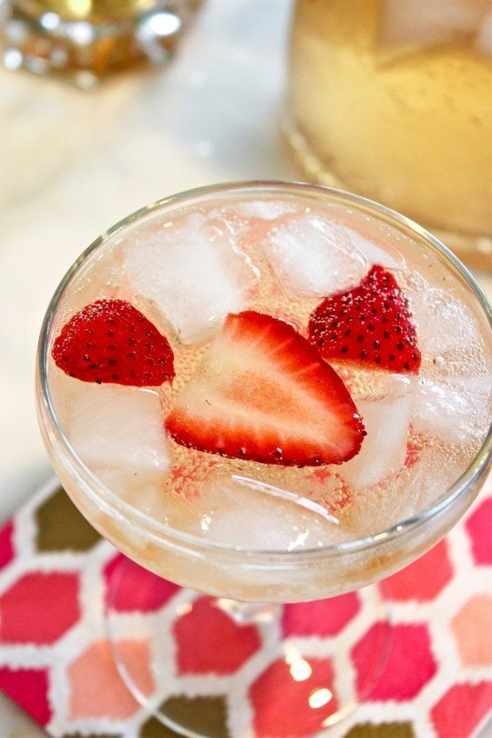 Elderflower Champagne Cocktail Serves 8 1 (750-ml) bottle Brut champagne or dry sparkling wine, chilled 1 cup of elderflower liqueur, like St. Germain 1 (12-ounce) can of club soda or seltzer water, chilled 1 cup sliced strawberries