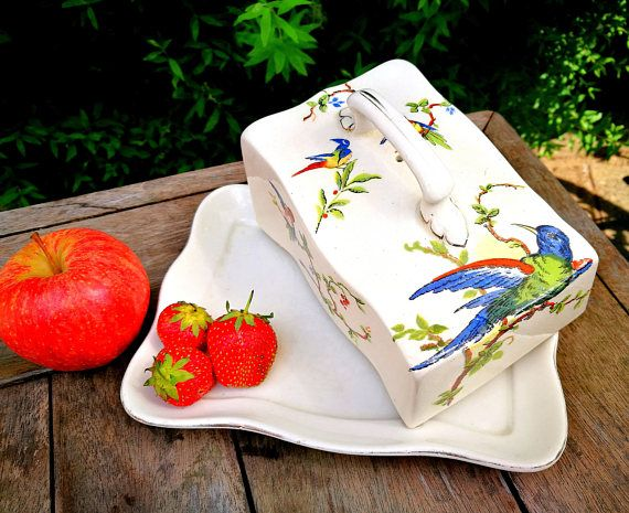 Vintage cheese dish, Vintage butter dish, English china cheese / butter dish, Wedge cheese dish, Cheese wedge, Cheese bell Butter wedge dish