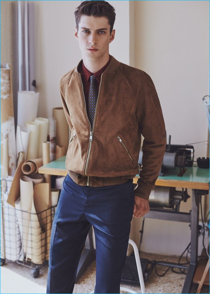 Matthew Bell updates the shirt and tie look with Mango Man's suede bomber…