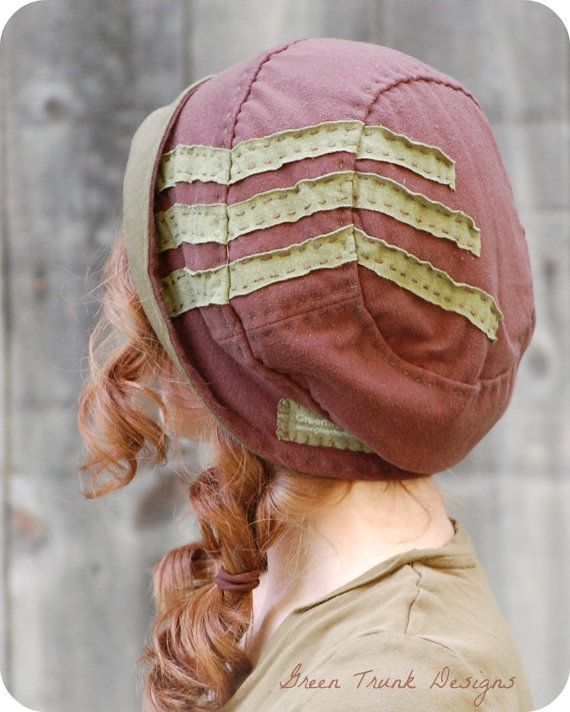 One day I will make a few hats. mm  Brimmed Slouch Beanie Hat Brown with Green by GreenTrunkDesigns