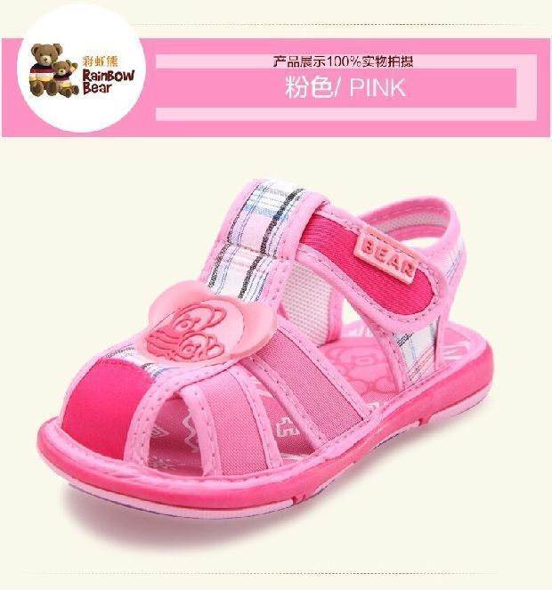 (Buy Two Get Third One Free)New Baby Girl Pink Pure Cotton Baby Sandals  #RainbowBear #Sandals