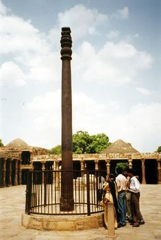 Iron Pillar of Delhi.  Read http://en.wikipedia.org/wiki/Iron_pillar_of_Delhi for the science behind why this iron pillar that is ages old DOES NOT RUST, per se.