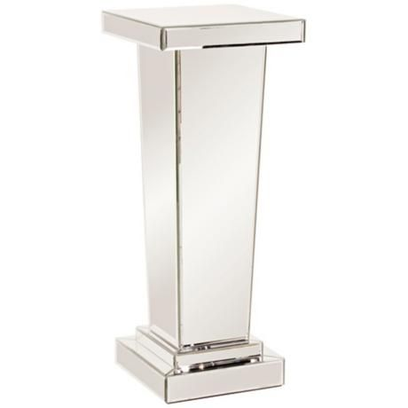 Tall Tapered Mirrored Pedestal Accent Table Products Tables And