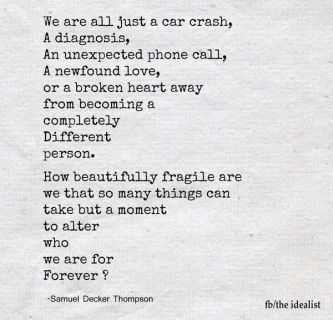 We are all just a car crash, a diagnosis, an unexpected phone call, a newfound love, or a broken heart away from becoming a completely different person. How beautifully fragile are we that so many things can take but a moment to alter who we are for forever. Life.