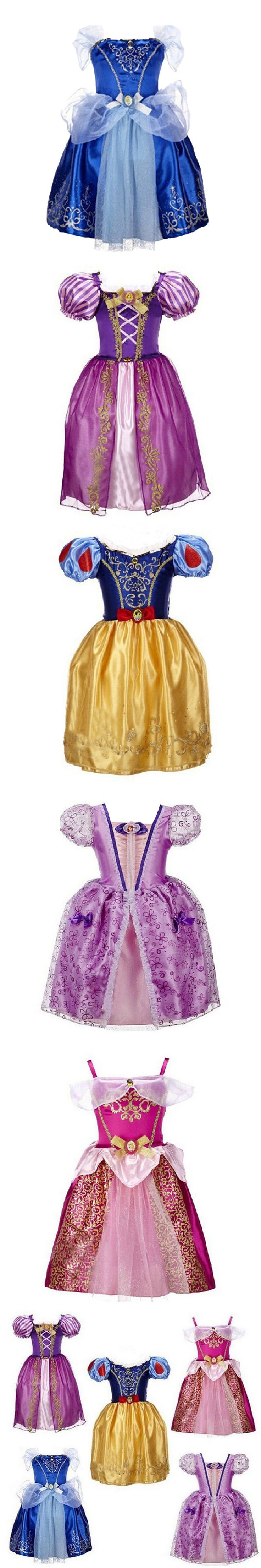 New Girls Cinderella Dresses Children Snow White Princess Dresses Rapunzel Aurora Kids Party Halloween Costume Clothes $9.7