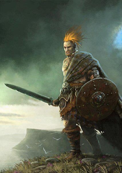 Human male ginger orange hair barbarian shield sword kilt highlands Highlander Scottish celtic