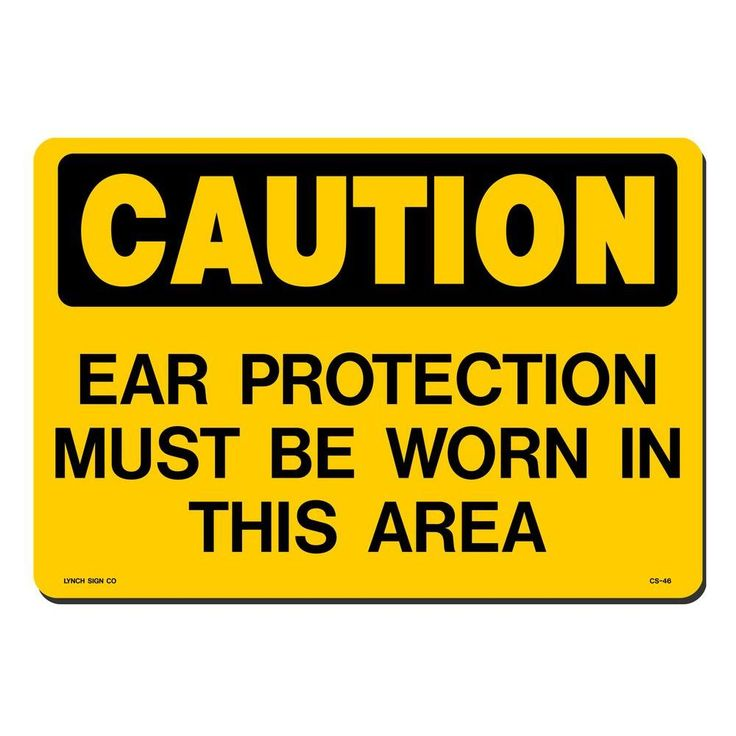 14 in. x 10 in. Black on Yellow Plastic Ear Protection Must Be Worn When Operating This Equipment Sign, Yellow With Black Printing