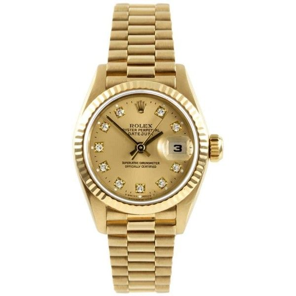 Refurbished Pre-owned Rolex Women's Gold Datejust Champagne Diamond... ($8,228) ❤ liked on Polyvore featuring jewelry, watches, rolex wrist watch, wide leather band watches, diamond dial watches, gold watches and gold diamond watches