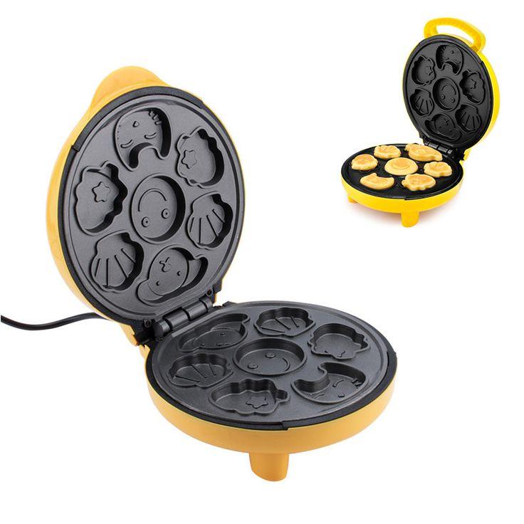 220 V Cartoon Mini Elektrische Waffel Backform Pfannkuchen Kuchen Waffeleisen Maschine Automatische Multifunktio Küche Applicance