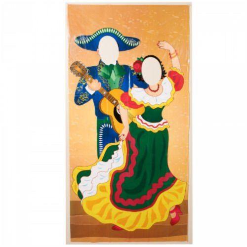 Spanish Mexican Cinco De Mayo Party Face Cutout Fiesta Couple Photo Banner Door