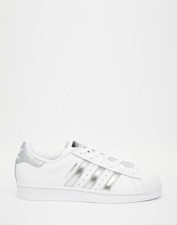 Adidas | adidas Originals White & Silver Superstar Sneakers at ASOS