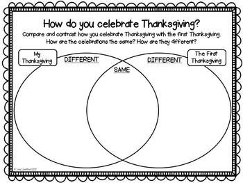FREEBIE!  Read stories about the first Thanksgiving and then students can compare and contrast their own Thanksgiving celebrations.