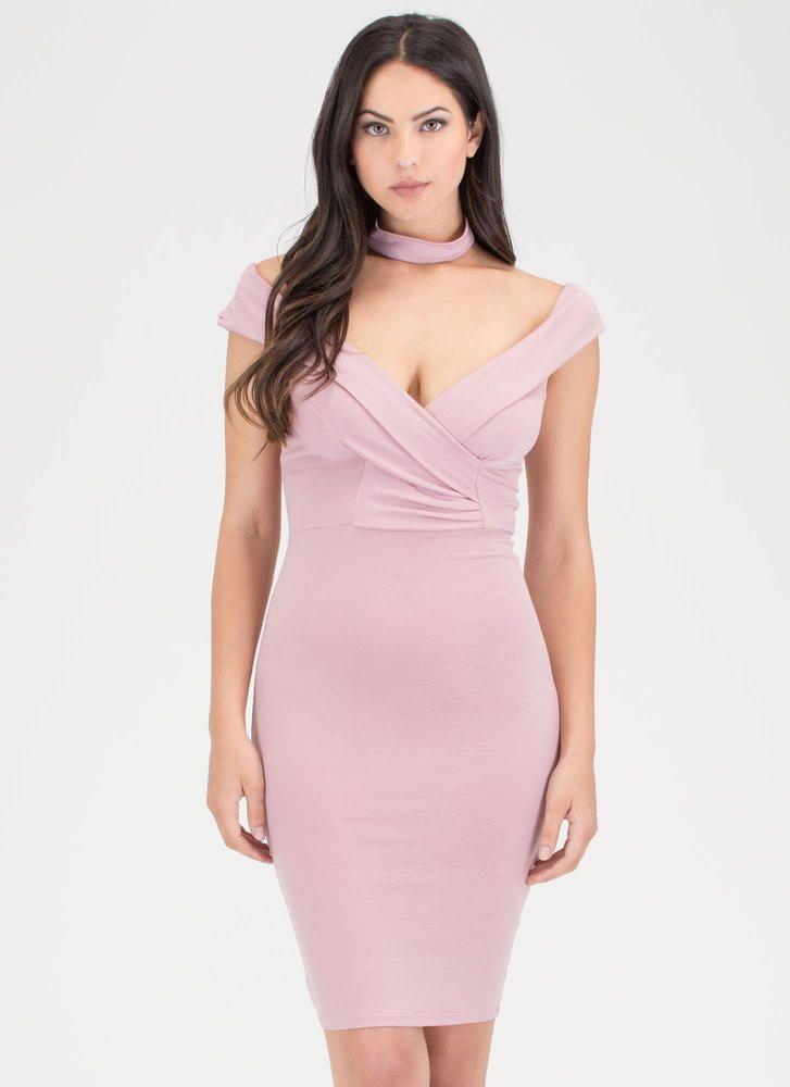 Glam Off-Shoulder Choker Midi Dress BLUE ROSE - GoJane.com   femmes ...