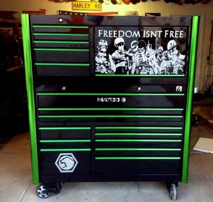 ideas to divide sae and mm in your garage - Patriotic Matco tool box My Barn Pinterest