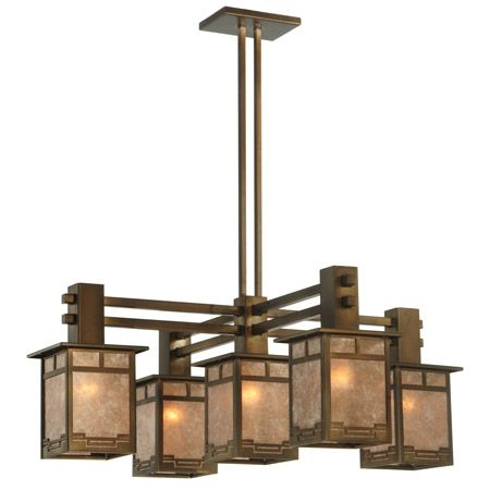 Five light mica craftsman chandelier.