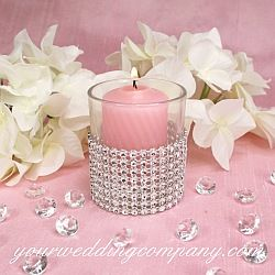 Pink Votive Candle - Diamond wrap is a sparkling, bendable ribbon perfect for wrapping around wedding bouquet handles, favor boxes, candles, vases, cakes and more. Similar to rhinestones.