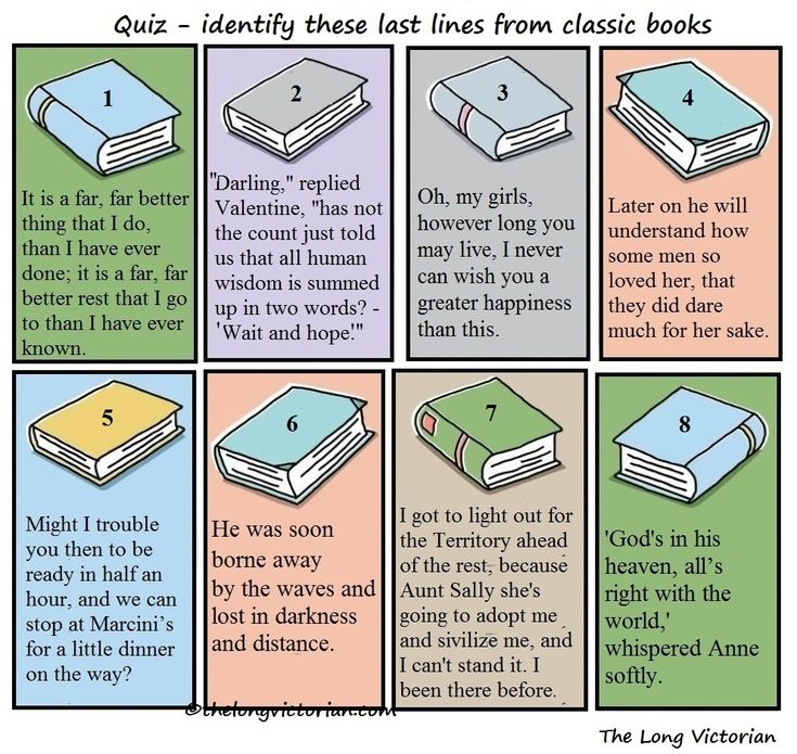 Don't look yet, have a try first! Answers: A Tale of Two Cities by Charles Dickens (1859) The Count of Monte Cristo by Alexandre Dumas (1845) Little Women by Louisa May Alcott (1868) Dracula …