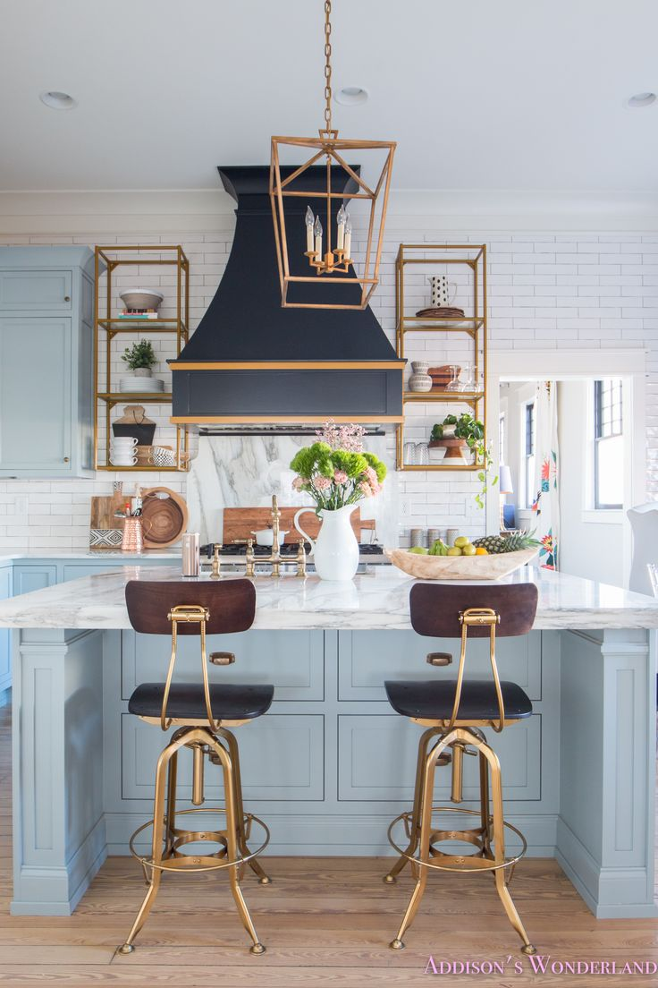 Inside Our 1905 Home... Sharing a tour plus 2018 Home Decor Trends... Black and White & Macrame!  kitchen-modern-stardew-uncertain-gray-sherwin-williams-powder-blue-alabaster-calcutta-gold-marble-countertops-white-subway-tile-backsplash-antique-brass-faucet-cabinet-hardware-lighting-cabinets-shaker-style-inset-doors