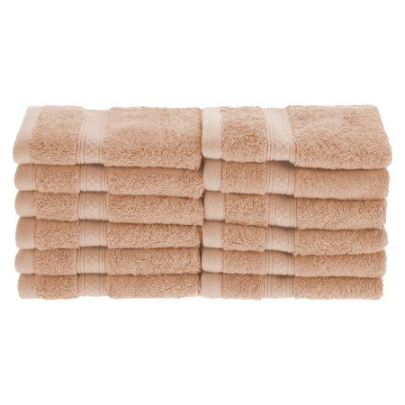 Superior 650GSM Rayon From Bamboo 12-Piece Face Towel Set, Beige